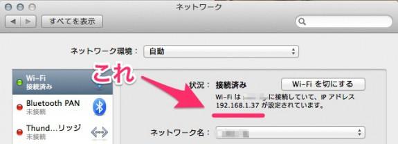 2の IP アドレスの確認はこんな感じ。