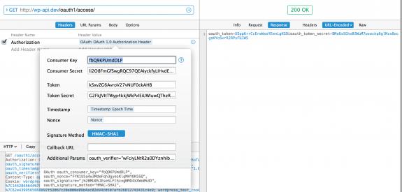 一番下に追加した oauth_verifier を追加して /oauth1/access/ にリクエストすると oauth_token と oath_token_secret がもらえる