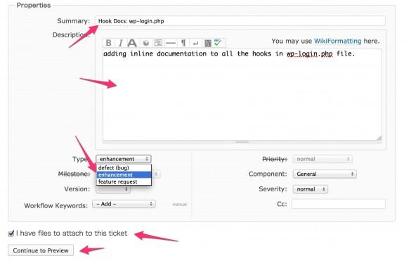 もろもろ入力する。TypeはBug(バグ報告)、Enhancement(改善)、Feature Request(改善要望)です。パッチファイルがある場合は左下にチェックを入れとく。